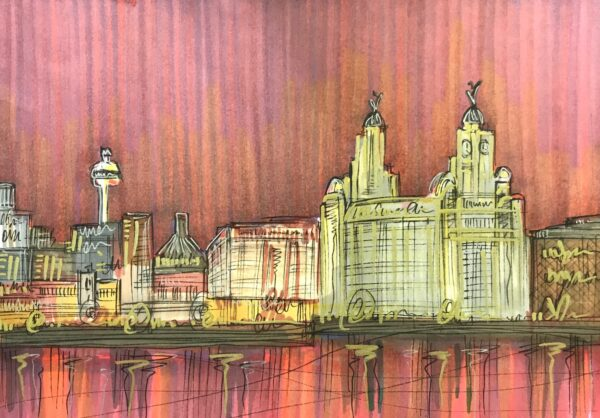 Edward Waite - Liverpool Sunset Skyline