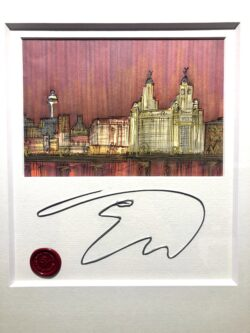 Edward Waite - Liverpool Sunset Skyline, Original Sketch