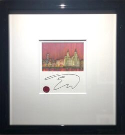 Edward Waite - Liverpool Sunset Skyline Framed Original Sketch