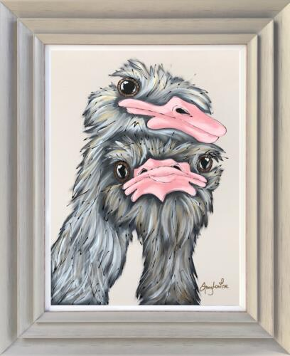 Amy Louise Original Art - Ostrich Snuggles
