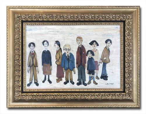 David Henty in the style of L S Lowry His Family Original Oil Painting
